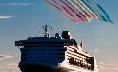 Cunard celebrates Red Arrows flypast in Southampton