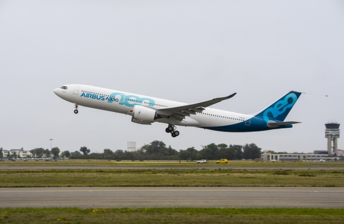 First A330neo takes flight over southern France