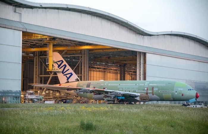 First All Nippon Airways A380 rolls off assembly line in France