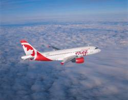 Air Canada rouge prepares for takeoff