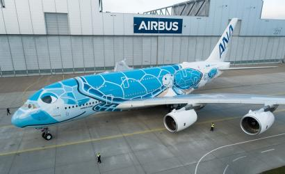 First All Nippon Airways A380 prepares for take-off