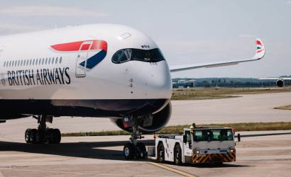 First British Airways Airbus A350 prepares for Dubai departure