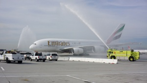 Emirates A380 touches down in Los Angeles