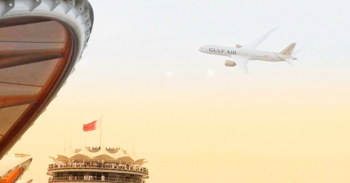 Gulf Air showcases new livery with Dreamliner flypast during Bahrain Grand Prix