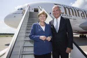 German chancellor Angela Merkel tours Emirates Airbus A380