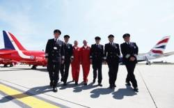 British Airways' A380 and Red Arrows meet at Air Tattoo