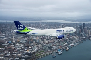 Boeing Seattle Seahawks plane takes to skies over USA