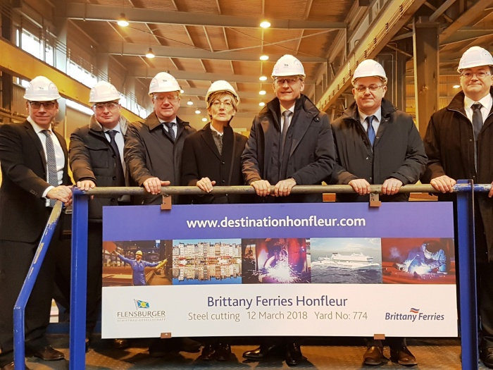 Brittany Ferries welcomes Honfleur steel cutting ceremony in Germany