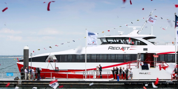 Duchess of Cornwall launches Red Jet 7 in Cowes, Isle of Wight