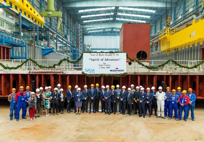 Saga celebrates Spirit of Adventure keel laying in Germany