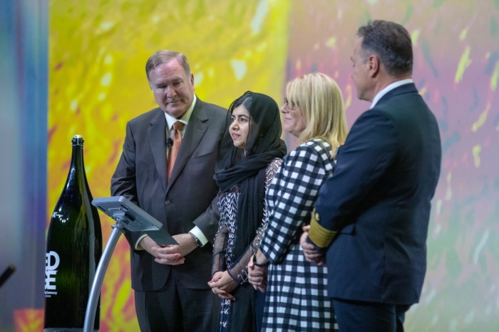 Yousafzai christens Celebrity Edge with mineral water