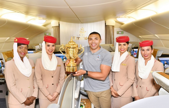 Webb Ellis trophy touches down in Tokyo, Japan, ahead of Rugby World Cup