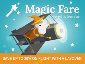 JetRadar presents Magic Fare, which can save up to 30% on flight with a layover