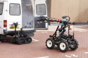 Robots used to fight fires involving Acetylene cylinders