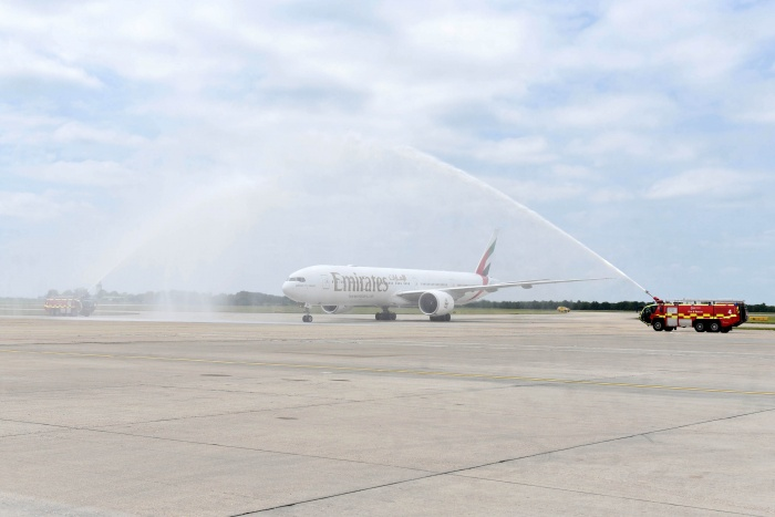 Emirates touches down at London Stansted for first time