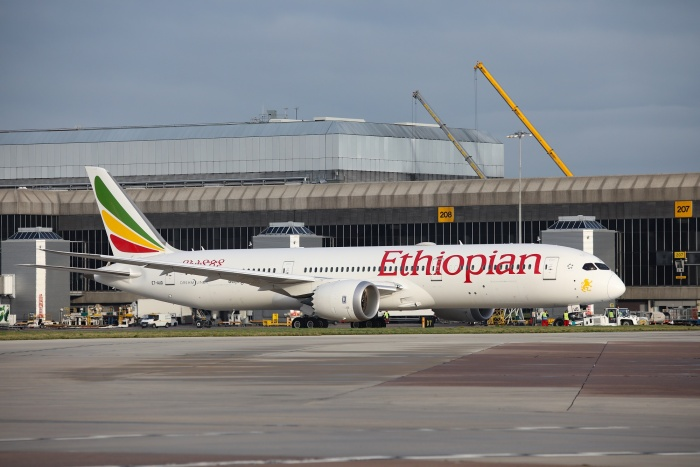 Ethiopian Airlines takes off from Manchester Airport for Addis Ababa