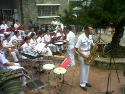 Victoria Seychelles, entertained by visiting Japanese navy band