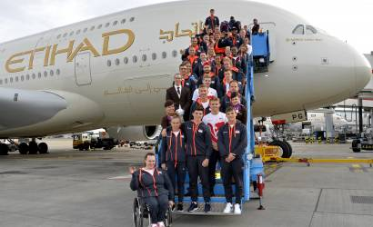 Etihad Airways flies victorious Team England back home