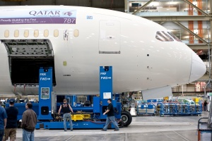 First Qatar Airways Dreamliner on the production line