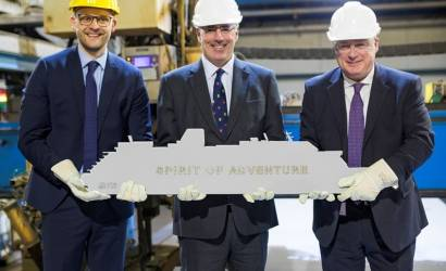 Saga hosts steel cutting for Spirit of Adventure