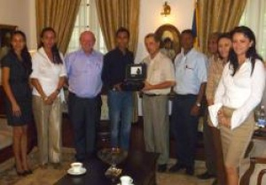 Seychelles President presented with limited edition Dievas divers watch from Germany
