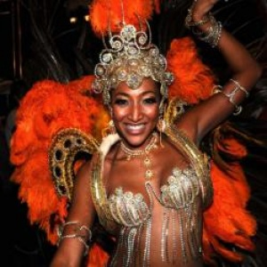 Samba Queen leading a Brazil delegation to Seychelles Carnival