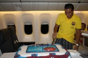 FC Barcelona; flown over the Atlantic by Turkish Airlines