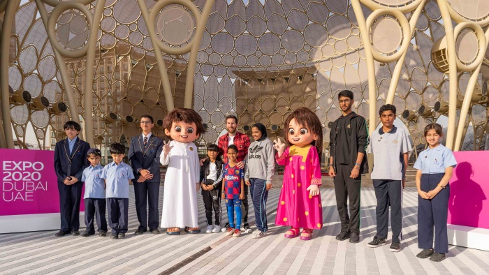 Messi greets UAE school children at Expo 2020