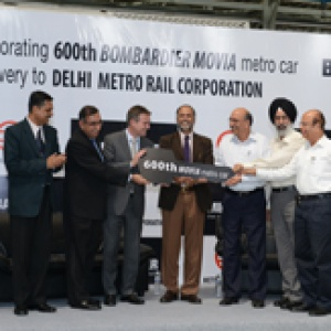 Delivery of 600th BOMBARDIER MOVIA metro car for Delhi Metro