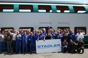 Stadler Reinickendorf first production of shell of double-decker train