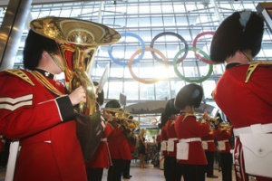 Olympic rings installed at London Heathrow ahead of Games