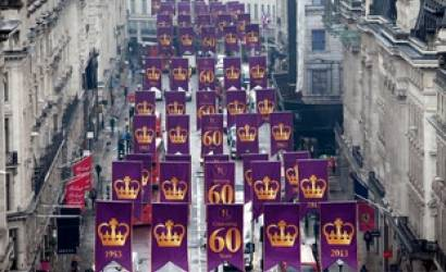 London's Regent Street turns purple to celebrate The Queen's Coronation