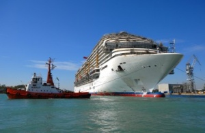 Carnival Magic floated out in Italy