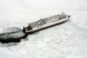 Passenger ferries trapped by Baltic ice